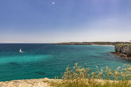 The bay of Torre dell'Orso, with its high cliffs, in Salento, Puglia, Italy. Turquoise sea and blue sky, sunny day in summer. A white sailboat in the sea. Grass tufts and grasses in the foreground Stock Photo