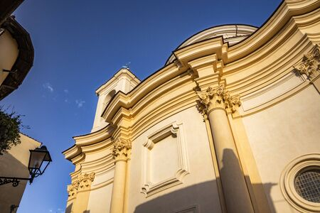 The Church of San Pietro. The blue sky at sunset. Zagarolo, Province of Rome, Lazio, Italy Imagens