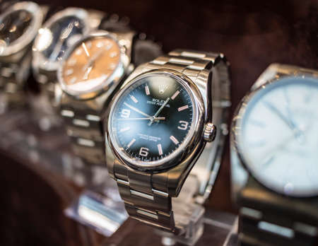 September 4, 2019 - Rome, Lazio, Italy - Rolex watches on display in the window of a jeweler, watchmaker.Rolex Oyster Perpetual Editorial