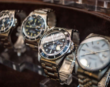 September 4, 2019 - Rome, Lazio, Italy - Rolex watches on display in the window of a jeweler, watchmaker.Rolex Oyster Perpetual Submariner
