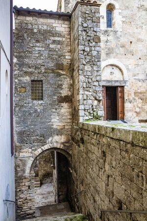 Arch and staircase leading to the cathedral of Santa Maria Annunziata, in Romanesque style. Anagni, Frosinone, Italy.