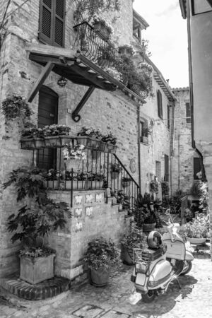 A characteristic alley of the medieval village, with stone and brick houses, plants and flowers on the balconies. A wasp parked in the street. In Spello, province of Perugia, Umbria, Italy.