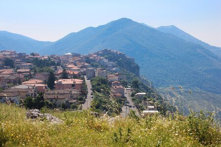 view of the city of Norma from the Archaeological site of the ancient city of Norba Latina, in the province of Latina, Lazio, Italy.