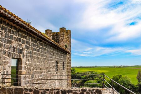 The Etruscan natural and archaeological park of Vulci, in the province of Viterbo, Lazio, Italy. Abbadia Castle and the