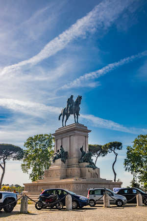 Rome, Lazio, Italy - Bronze statue of the Italian general and patriot Giuseppe Garibaldi, on horseback, at the Janiculan Hill (Janiculum). Monument to the hero of Italian unification (Risorgimento).