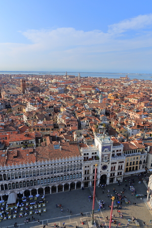 st  marks square: VENICE - APRIL 9, 2017: The view from above on Venice and San Marco Square near the Zodiac Clock Tower, on April 9, 2017 in Venice, Italy