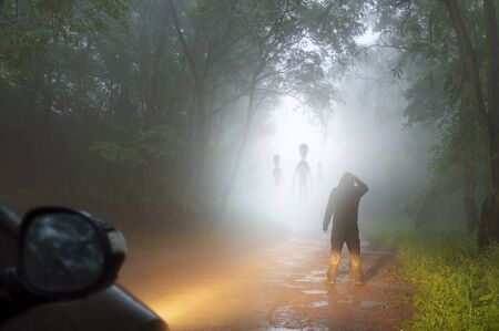 A science fiction concept of a man looking at aliens coming out the mist on a foggy, spooky forest road in the evening. Highlighted by car headlights. Banco de Imagens
