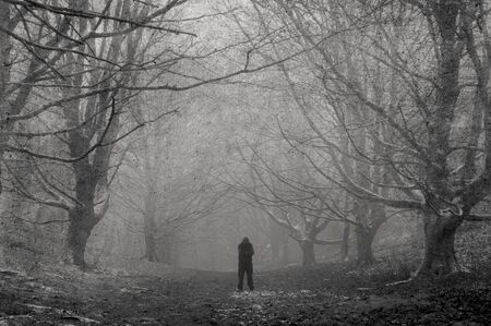 A spooky hooded figure, silhouetted on a path on a moody, foggy, winters day in a forest. With a textured, weathered, vintage edit