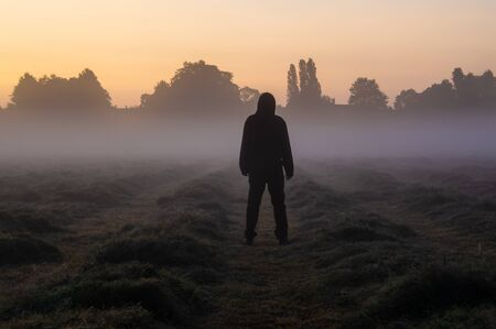 A hooded man standing in a misty field back to camera looking into the sky, Just before sunrise. Banco de Imagens