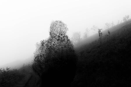 A man silhouetted against a hill on a foggy day, disintergrating. With a black and white edit.