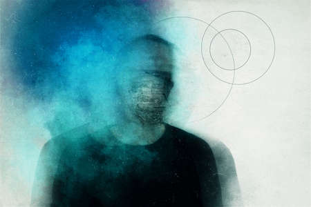 Horror and mental health concept. A mans head covered with clouds. With a blurred, grunge, abstract edit