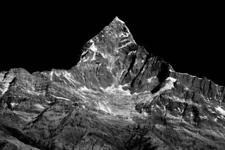 Mount fishtail from pokhara in Monochrome