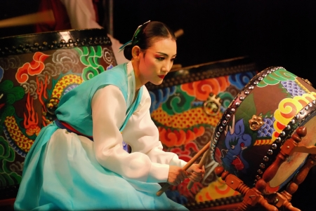 Performance of Busan Korean traditional dance at theatre Publikacyjne