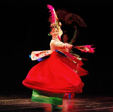 Performance of Busan Korean traditional dance at theatre