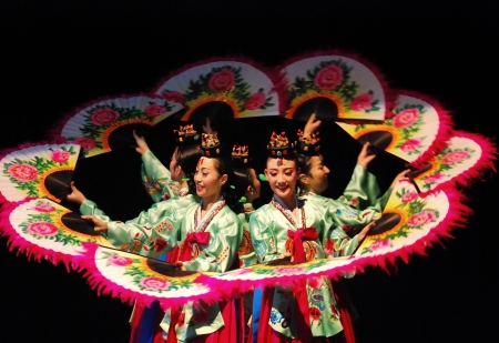 Female performers of Busan Korean traditional dance at theatre