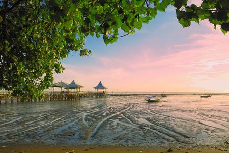 receding: Receding shore with green leaves frame,  Taken at Kenjeran beach, Surabaya, east Java, Indonesia