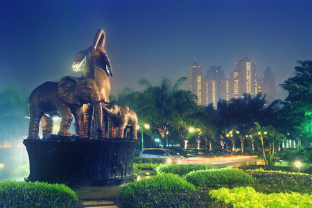 artictic: Elephants statue at park in the night Taken at Citraland Park, Surabaya, east Java, Indonesia