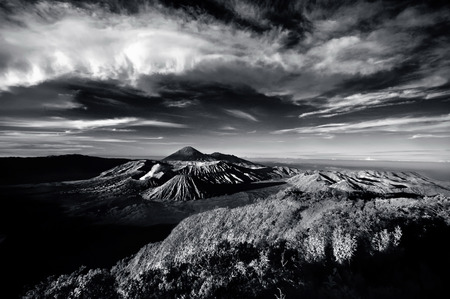 cloudy sky: View of Bromo mountain area under cloudy sky
