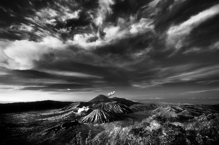 stratus: View of Bromo mountain area under cloudy sky