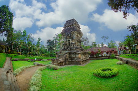 primordial: View of Kidal Temple beside garden Taken at Kidal Temple, Malang, east Java, Indonesia