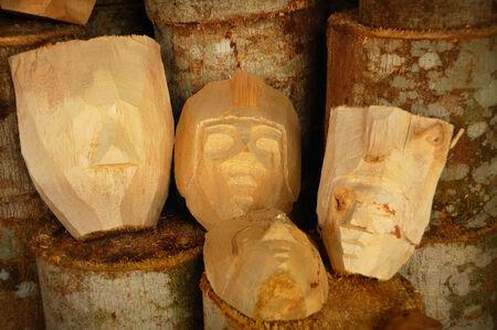 kriya: Unfisinished Wooden traditional mask, Taken at Asmoro Bangun Handicraft, Malang, east Java, Indonesia