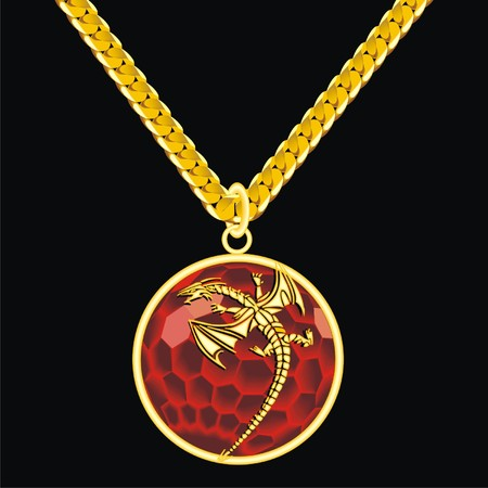 pastiche: Ruby medallion on a chain with a dragon