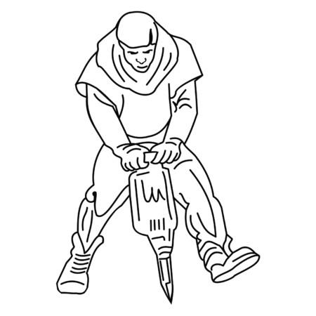 jackhammer: worker with jackhammer Illustration