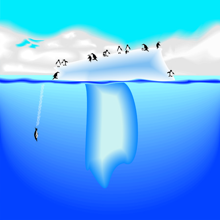 polar climate: T letter iceberg with penguins Illustration
