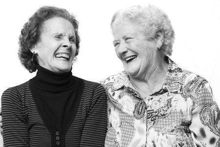 old dame: Vecchio signore ridere