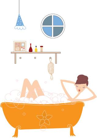 mooie meid in badkamer vectoren illustratie