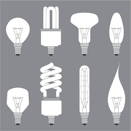 lamps, bulbs, lighting equipment vectors illustration