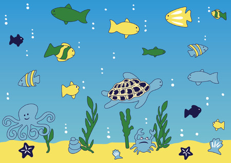 cean and sea life  vector illustration Vectores