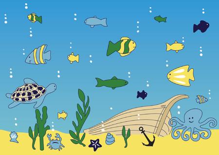Ocean, sea life and broke ship vector illustration Stock Vector - 1430917