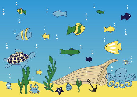marine crustaceans: Ocean, sea life and broke ship vector illustration Illustration