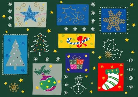 Sommige kerst seizoen ornamenten. Volledig bewerkbare, eenvoudig kleur veranderen.