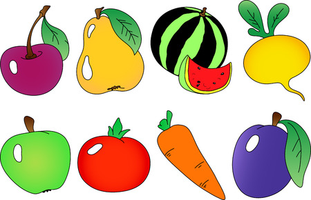 Fruits and berries collection. Fully editable, easy color change.  Vectores