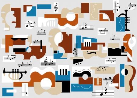Muzyczne i teatralne streszczenie tle ilustracji wektorowych. W pełni edytowalnych, łatwo zmienić kolor.