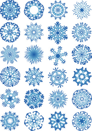 cold fusion: 24 beautiful cold crystal gradient snowflakes vector illustration