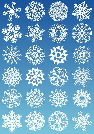 cold fusion: Snowflakes vectors icon set and design elements.  Fully editable, easy color change.   Illustration