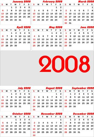weeks: Vector european calender 2008. Fully editable, easy color change.