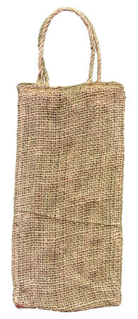 pack string: Burlap bag isolated on white background