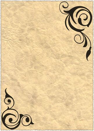oldish: Vintage old ripped paper Background with decorations