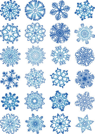 cold fusion:   Snowflakes vectors icon set and design elements.  Fully editable, easy color change.