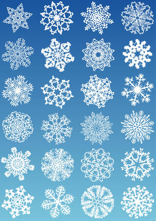 cold fusion: Beautiful cold crystal gradient snowflakes vector illustration. Fully editable, easy color change.