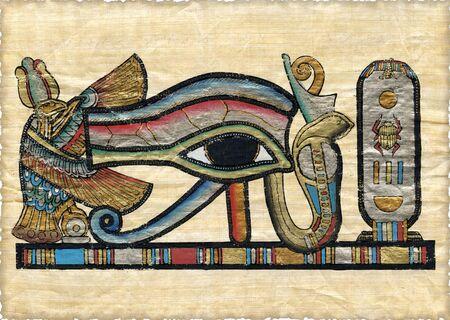 scribes: Papyrus egiziano bello con gli elementi dellornamento ceremonial