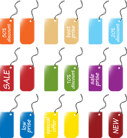 Price and labels tag sets - vector illustration. Fully editable, easy color change. Stock Vector - 2863157