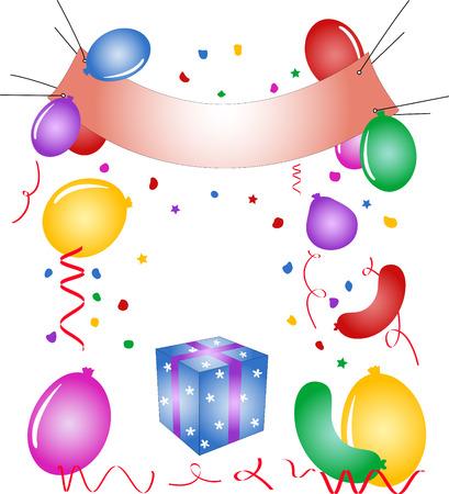 Partij poster, ballonnen, confetti, gift box - vector illustratie. Volledig bewerkbare, eenvoudig kleur veranderen.