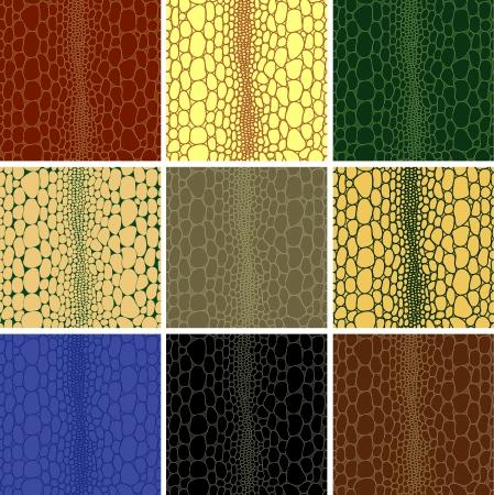 Naadloze patroon van krokodil getextureerde leder huid achtergrond textuur. Seamless vector illustratie. Volledig bewerkbare, eenvoudig kleur veranderen. Stock Illustratie