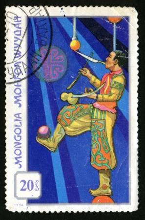 Vintage antique postage stamps from Mongolia Foto de archivo