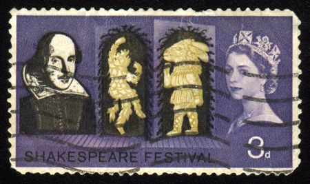 Vintage antique postage stamp with Shakespeare Festival